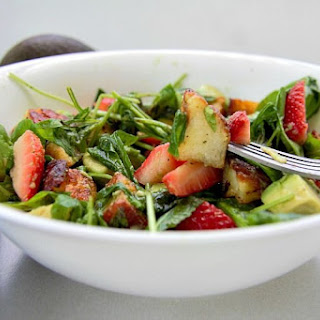 Avocado Strawberry & Halloumi Salad.
