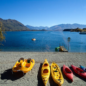 From a window... by J Delos Santos - Nature Up Close Sand ( wanaka, nature, lake, boat, kayak, new zealand )