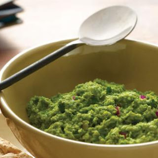 Fava Bean, Pea, and Edamame Mash with Oven-Dried Pita Crisps Recipe