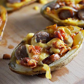 Bacon, Bratwurst, and Beer Cheese Potato Skins.