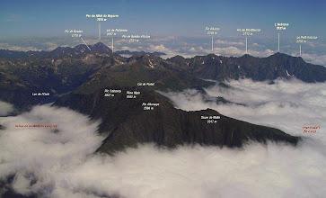 Photo: Vision aérienne annotée sur les crêtes de Héche Barrade prés de Saint Lary.