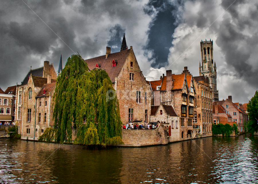 Bruges (Belgium) by Gianluca Presto - City,  Street & Park  Historic Districts ( clouds, water, canals, building, europe, romantic, bruges, belgium, historic district, canal, historic, ancient, tree, dark, buildings, cloudy, medieval,  )