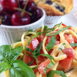Marinated Brie Tomato & Basil Linguine.
