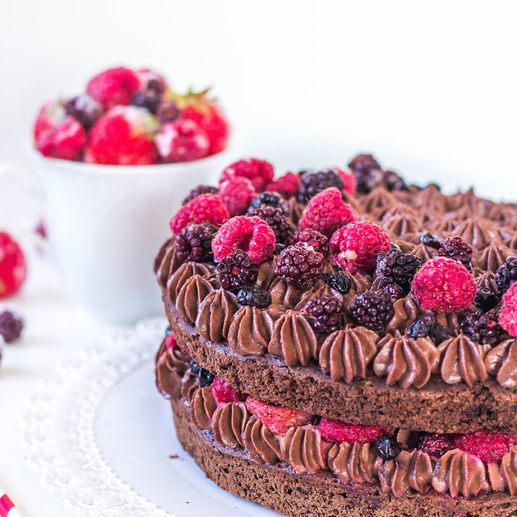 Brownie Chocolate Cake with Chocolate Mascarpone Filling and Berry Fruits
