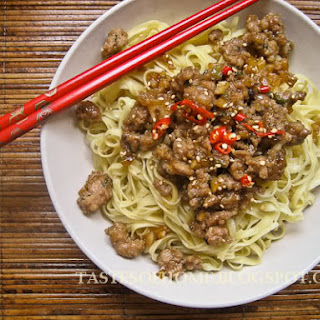 Sesame Pork and Mushrooms Noodles Recipe (Lo Mein)