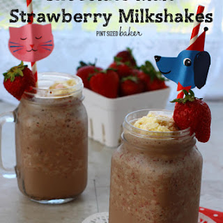 Chocolate Malted Strawberry Milkshakes