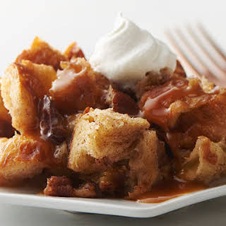 Slow-Cooker Croissant Pudding with Butter Bourbon Sauce.