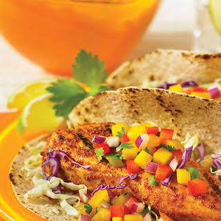 Grilled Tilapia Tacos with Mango Salsa.