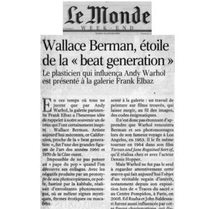 Le Monde, Wallace Berman 2009