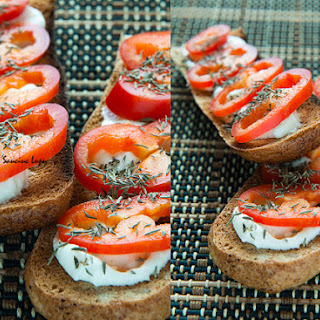 Bruschetta With Cheese And Red Pepper