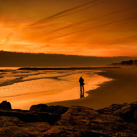 Sunset Gazing by Linda Karlin - Landscapes Sunsets & Sunrises ( reflections, sunset, beach, water, landscape,  )