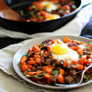 Roasted Carrot Hash with Ground Beef and Bacon {Paleo}.