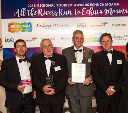Winners are grinners: The Boggabri Drovers Campfire contingent at the Regional Tourism Awards at Moama on Saturday night, Richard Gillham, Geoff Eather, Ron Boxsell and Keith Blanch.