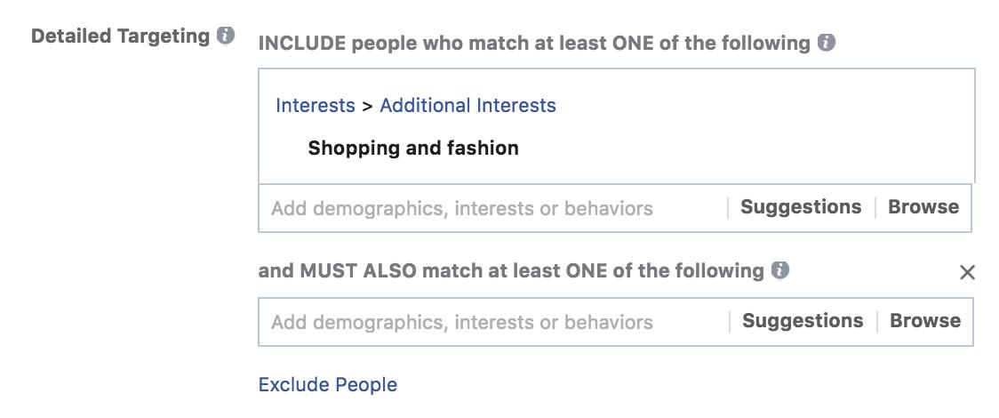 Facebook advertising layering audiences