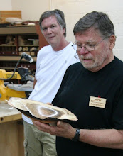 "Photo: Dick Webster with a natural-edge oak ""platter"""