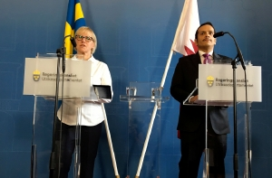 Swedish Foreign Minister Margot Wallstrom, left, and Qatari Foreign Minister Mohammed bin Abdulrahman al-Thani address a news conference in Stockholm, Sweden, on August 17 2017. Picture: REUTERS