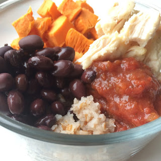 5 Ingredient Simple and Clean Sweet Potato, Bean and Chicken Bulgar Bowl