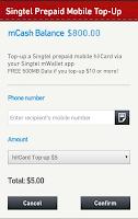 Screenshot of Singtel mWallet