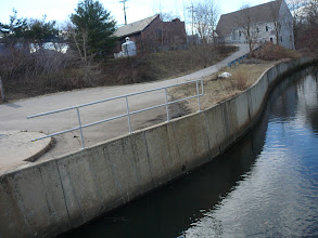 Photo: Natural course of Town Brook flowing in from Fort Square (Brook Rd & School St)