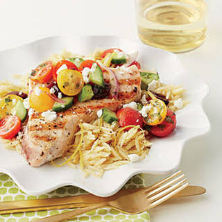 Grilled Swordfish with Chopped Greek Salad.