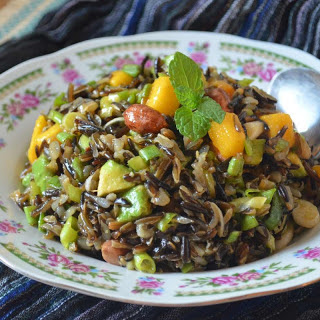 Spicy Peanut, Black Rice Salad with Mango, Grapes and Avocado