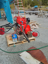 Photo: setting up our 34HP Beta Marine Engine for a bit of exercise