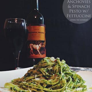 Arugula, Anchovies & Spinach Pesto with Fettuccine