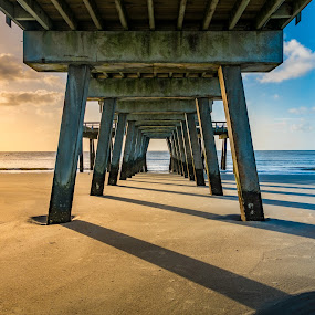Under the Pier Two by Chris Thomas - Buildings & Architecture Bridges & Suspended Structures ( savannah, tybee, hdr, color, georgia, pier, dock, island,  )