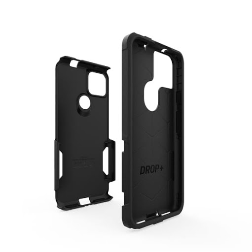 The exterior synthetic rubber slipcover and interior polycarbonate shell of the OtterBox Commuter Series for Google Pixel 5a (5G)