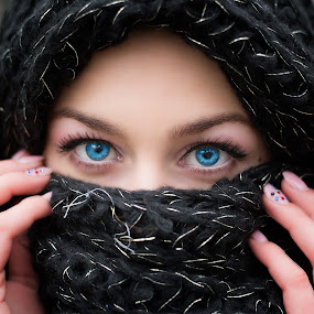 Damascus by Cosmin Lita - People Body Parts ( mistery, blue, woman, damascus, eyes,  )