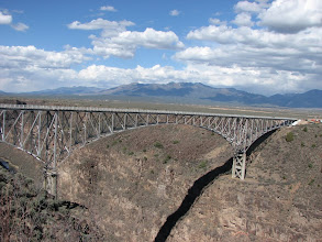 """Photo: Just outside Taos, the Rio Grande River Gorge bridge was nicknamed """"the bridge to nowhere"""".  However, in this area it saves a couple of hours driving around the gorge."""