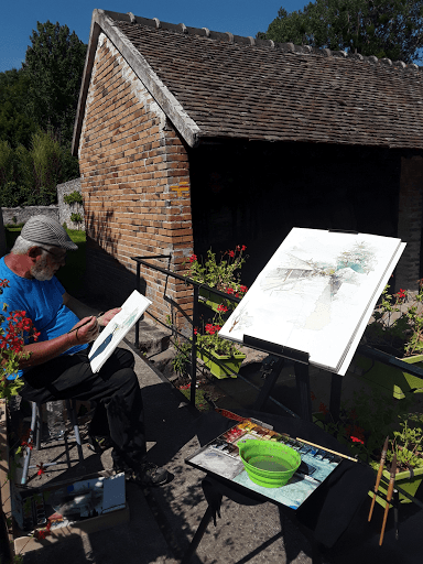 fontainebleau_gatinais_nemours_moret sur loing stage aquarelle en plein air_ démostration aquarelle JEANNE PAPA_ expo au fil des lavoirs LAVOIR DE FLAGY 2019