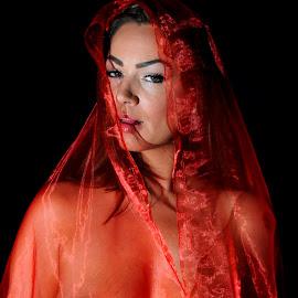 by DJ Cockburn - Nudes & Boudoir Artistic Nude ( red, off camera flash, woman, sensual, white, art nude,  )