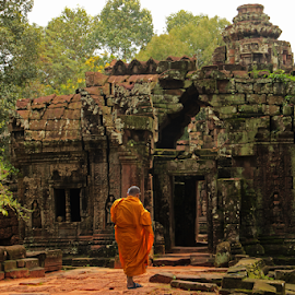Ankor Monk  by Stephanie Veronique - Buildings & Architecture Public & Historical ( historic, ruins, old, asian, temple, believe, ankor, monk, buddhism, religion, architecture )
