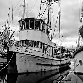 fishing boat is in by Jon Radtke - Black & White Objects & Still Life ( fishing boat is in,  )