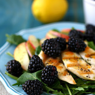 Spring Green Salad with Blackberries, Grilled Chicken, and Lemon Poppy Seed Dressing.