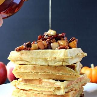 Pumpkin Cheddar Waffles w/ Bacon-Apple Chutney & Candied Pecans