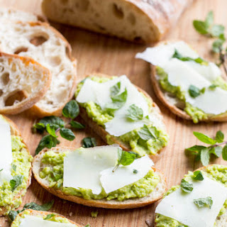 Fava Bean Crostini with Pecorino + Mint