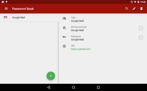 Password Book for Tablet