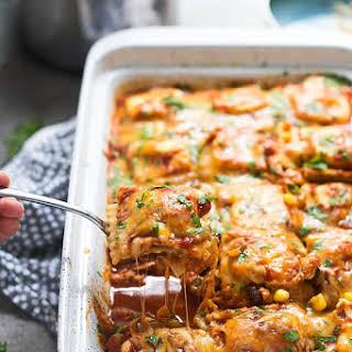 Chicken Enchilada Baked Ravioli.