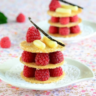 Caramelized Phyllo Napoleons with Vanilla Pastry Cream and Raspberries.