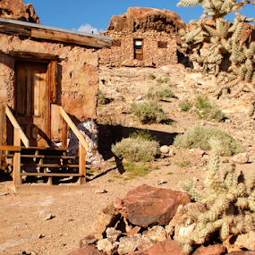 Calico ghost town by Gayle Mittan - Buildings & Architecture Homes ( mountains, historic, stacked stone, structures, rocky, high desert, doors, rocks, gold mine, ghost town, houses, cactus, bunk house, california, cacti, desert, abandoned, calico, silver mine, tumbleweed )