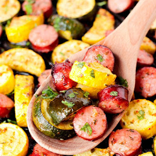 Roasted Smoked Bratwurst and Summer Squash Recipe