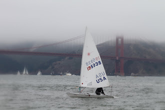 Photo: Jeff brings the boat in to shore after the first day of races.