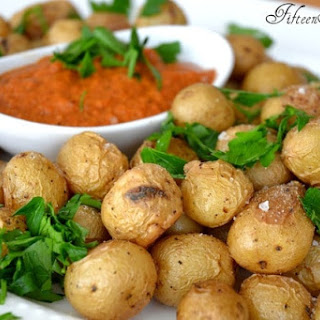 Roasted Baby Potatoes with Romesco Dip.