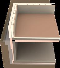Photo: Dreidimensionaler Ausschnitt der Ecke des unkonditionierten Kellers mit Außenwand in der Höhe von 1m ab Fußbodenoberkante