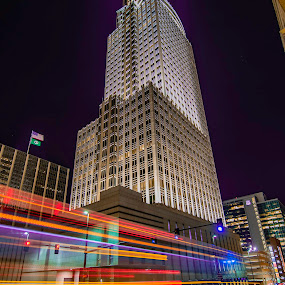 first national tower by Duane Vosika - Buildings & Architecture Office Buildings & Hotels ( bus, city, night, skyscraper, long exposure, building, automobile, car, light, light trails, lights, tower, traffic, architecture )
