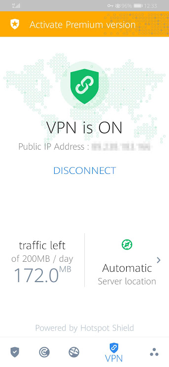 Bitdefender VPN is ON CONNECTED