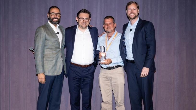Far left: Sherif Seddik: Sr VP, EMEA, Citrix. Middle left: Piotr Faderski, emerging market channel director, Citrix. Middle right: Craig Margison, Datacentrix pre-sales specialist. Far right Eric Kline, COO, EMEA, Citrix.