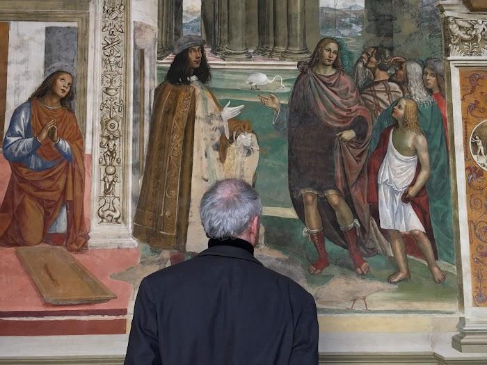 De fresco's van Il Sodoma in de abdij van Monte Oliveto Maggiore (zelfportret)